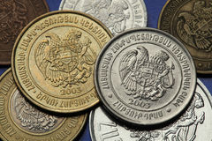 Coins of Armenia. Armenian national coat of arms depicted in Armenian dram coins Stock Photo