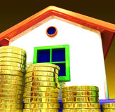 Coins Around House Shows Home Savings Royalty Free Stock Photography