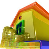 Coins Around House Shows Real Estate Investments Stock Photography