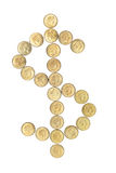 Coins Arranged in Dollar Sign Royalty Free Stock Photos