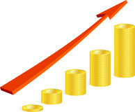 Coins and arrow Stock Images