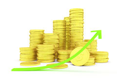 Coins and arrow Royalty Free Stock Images