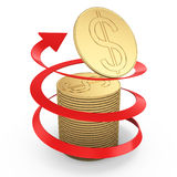 Coins and arrow. Coins and red arrow on white background. 3d rendered image. finance success concept Stock Images