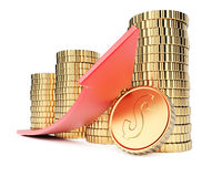 Coins and arrow. Growth concept on white background. 3d rendering image Royalty Free Stock Images
