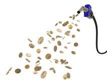 coins att hälla för dollarbränsledysa Royaltyfria Bilder