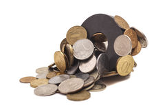 Coins attracted by magnet Stock Photos
