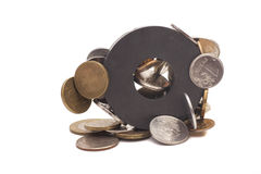 Coins attracted by magnet Royalty Free Stock Photos