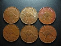 Coins. Australian Pennies. A set of six cosecutive year 1959 to 1965 Australian pennies Royalty Free Stock Images