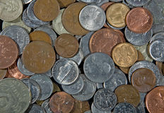 Coins background. Coins of different origins and values as a background Royalty Free Stock Photo
