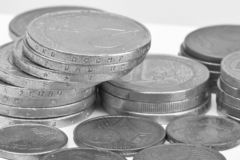 Coins background. euro coins. cent coins. euro cents Selective focus Black and white image stock images