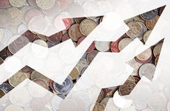 Coins background with growing trends arrows. Different countries coins background with growing trends arrows Stock Images