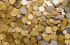 Coins. Background of a large number of coins Ukrainian stock photo