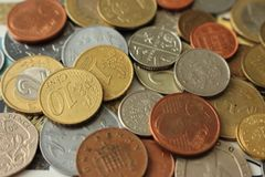 Coins background. Metal coin. Money of different counties background. Finance and wealth background. Coins background. Metal coin. Money of different counties Stock Photo