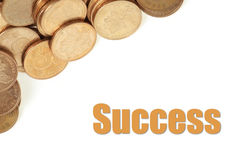 Coins Background. Pile of coins on white background with success royalty free stock photography