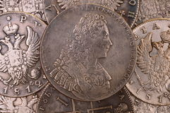 Coins background silver ruble 1729 Russia Emperor Peter II Autocrat of all Russia Stock Photo