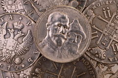 Coins background silver ruble Russia 1913 Three hundred years anniversary of the Romanov dynasty Stock Photography