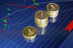 Coins on background stock charts Stock Photo