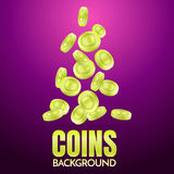 Coins background template Vector. For banner, poster, flyer Royalty Free Stock Photo