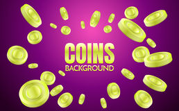 Coins background template Vector. For banner, poster, flyer Stock Photo