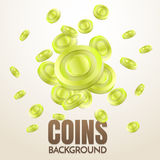Coins background template Vector. For banner, poster, flyer Royalty Free Stock Photos