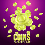 Coins background template Vector. For banner, poster, flyer Stock Images