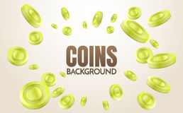 Coins background template Vector. For banner, poster, flyer Royalty Free Stock Image