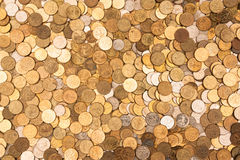 Coins background two. Pictured on the placer Russian coins Royalty Free Stock Image