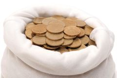 Coins in a bag. Against a white background Royalty Free Stock Photo