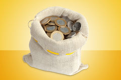 Coins in bag Stock Photography