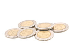 coins baht 10 (för tio) på vit bakgrund Arkivbild