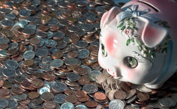 Coins and bank Royalty Free Stock Images