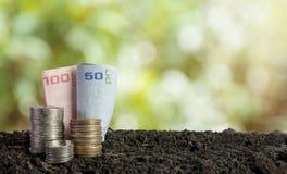 Coins and bank note in soil, saving money concept stock photos