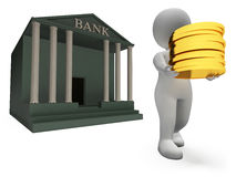 Coins Bank Represents Saved Render And Prosperity 3d Rendering Stock Photo