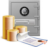 Coins, bank vault and financial securities royalty free illustration
