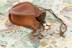 Coins and banknote. Spilled coins with money-bag on banknote Stock Photography
