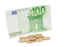 Coins and banknote. European coins of different advantages and 100 euro banknote Royalty Free Stock Photography