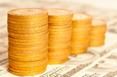 Coins and banknote Royalty Free Stock Photography