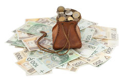 Coins and banknote. Full money-bag with coins on banknotes Royalty Free Stock Image