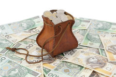Coins and banknote. Full money-bag with coins on banknotes Royalty Free Stock Photo