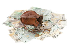Coins and banknote. Spilled coins with  money-bag on banknotes Royalty Free Stock Photos