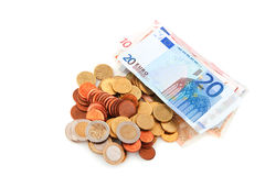 Coins and banknotes Stock Images