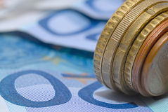 Coins and banknotes Royalty Free Stock Photography