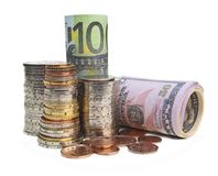 Coins and banknotes Royalty Free Stock Photos