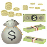 Coins and banknotes and bag with coins Stock Images