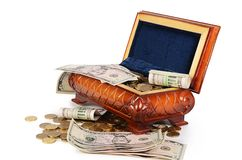 Coins and banknotes in the box Royalty Free Stock Photography