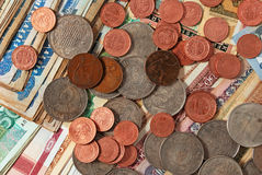 Coins and banknotes. Stock Photography