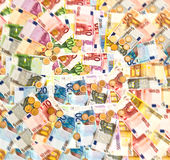 Coins and banknotes. euro currency background Stock Images