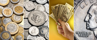 Coins and banknotes - International currency Royalty Free Stock Photo