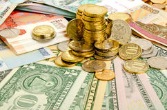 Coins and banknotes. Royalty Free Stock Photography