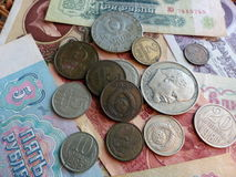 Coins and banknotes of the USSR. Collection. Background with money signs. Royalty Free Stock Photo